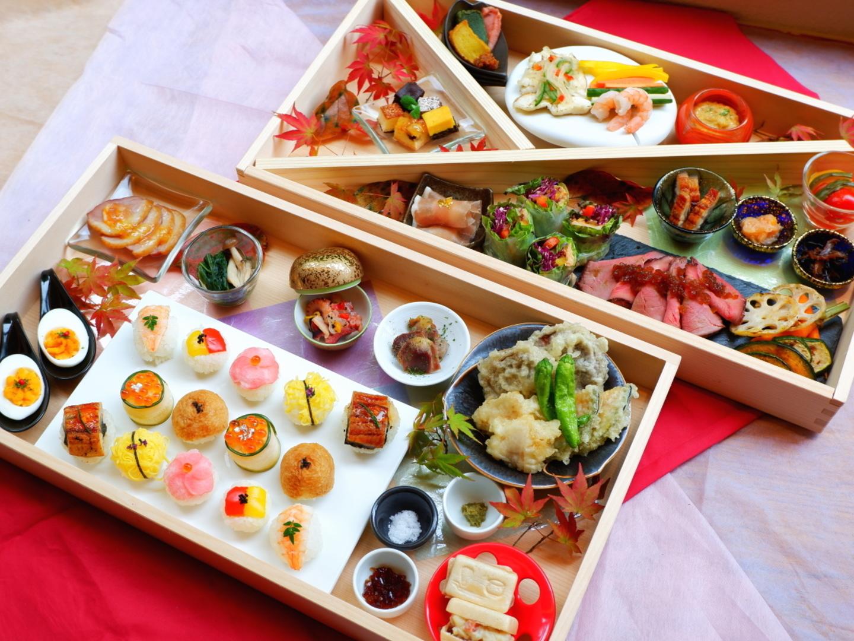【夕食/お部屋食】大分和牛のローストビーフ、鮮やか手毬寿司など◆高級弁当プラン<夕食付/朝食無し>◆